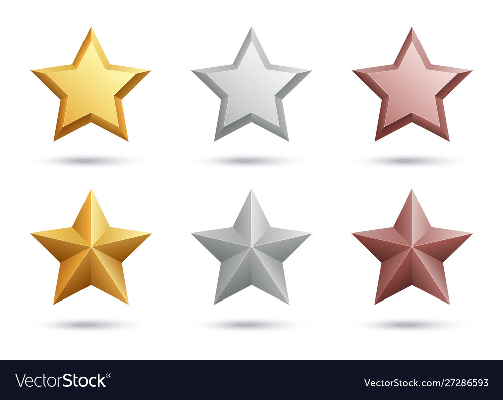Realistic stars gold silver bronze stars isolated