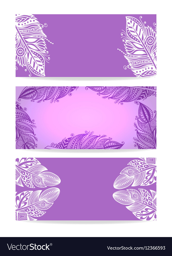 Violet Banner with Hand drawn Feathers