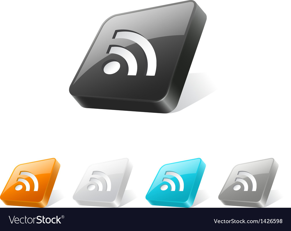 3d web button with rss icon