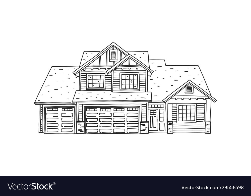 Banner Sketch Modern Comfortable Private House Vector Image