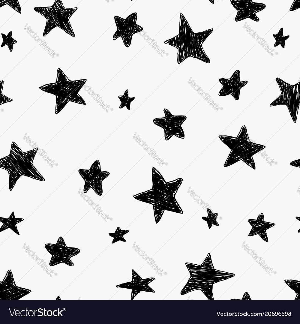 Beautiful black and white seamless night sky vector image