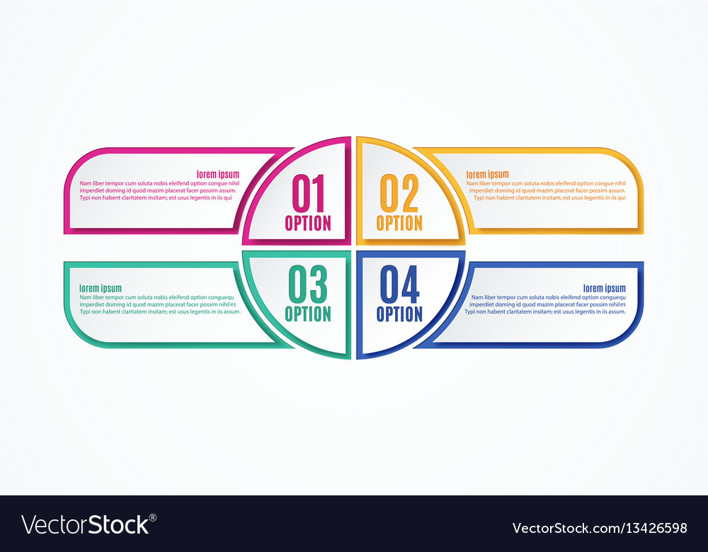 Colorful infographics options four steps vector image
