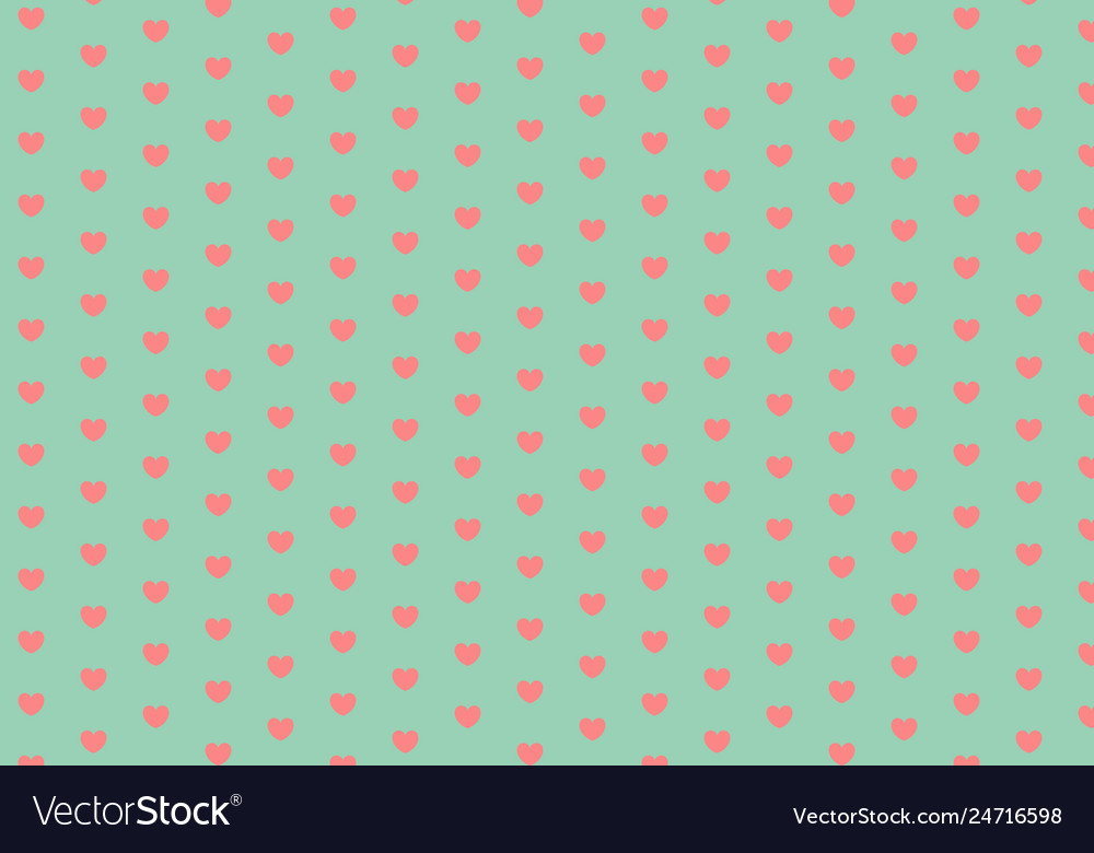 Coral hearts on mint green seamless pattern