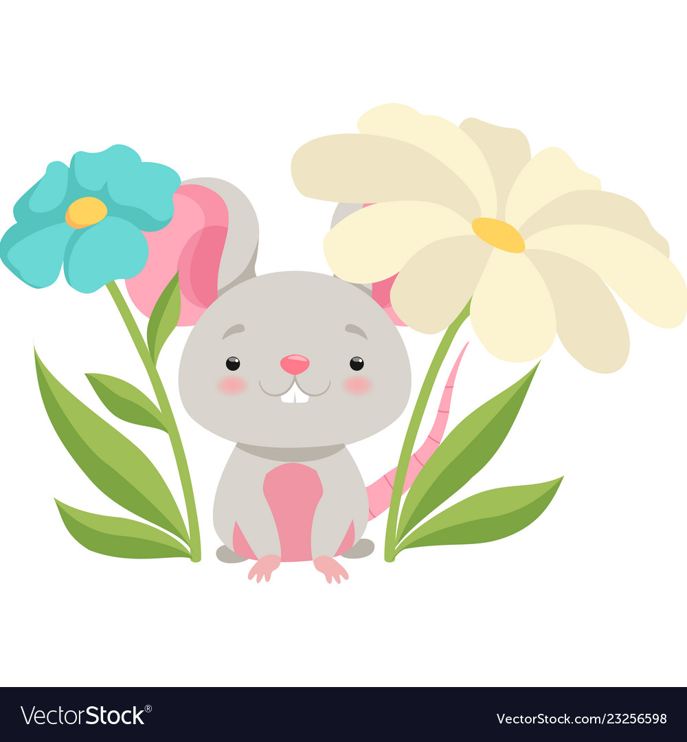 Cute mouse in flower garden funny animal cartoon