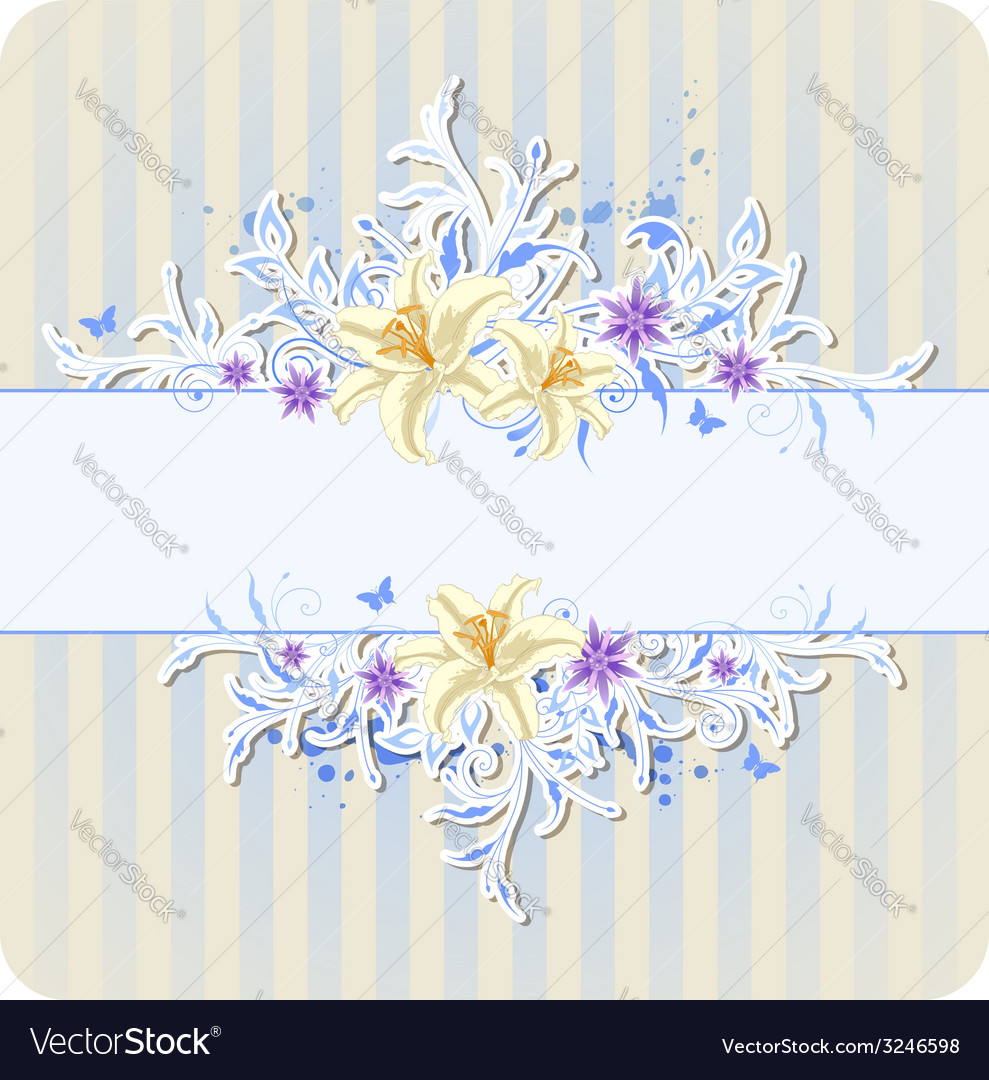 Decorative blue background with lily vector image