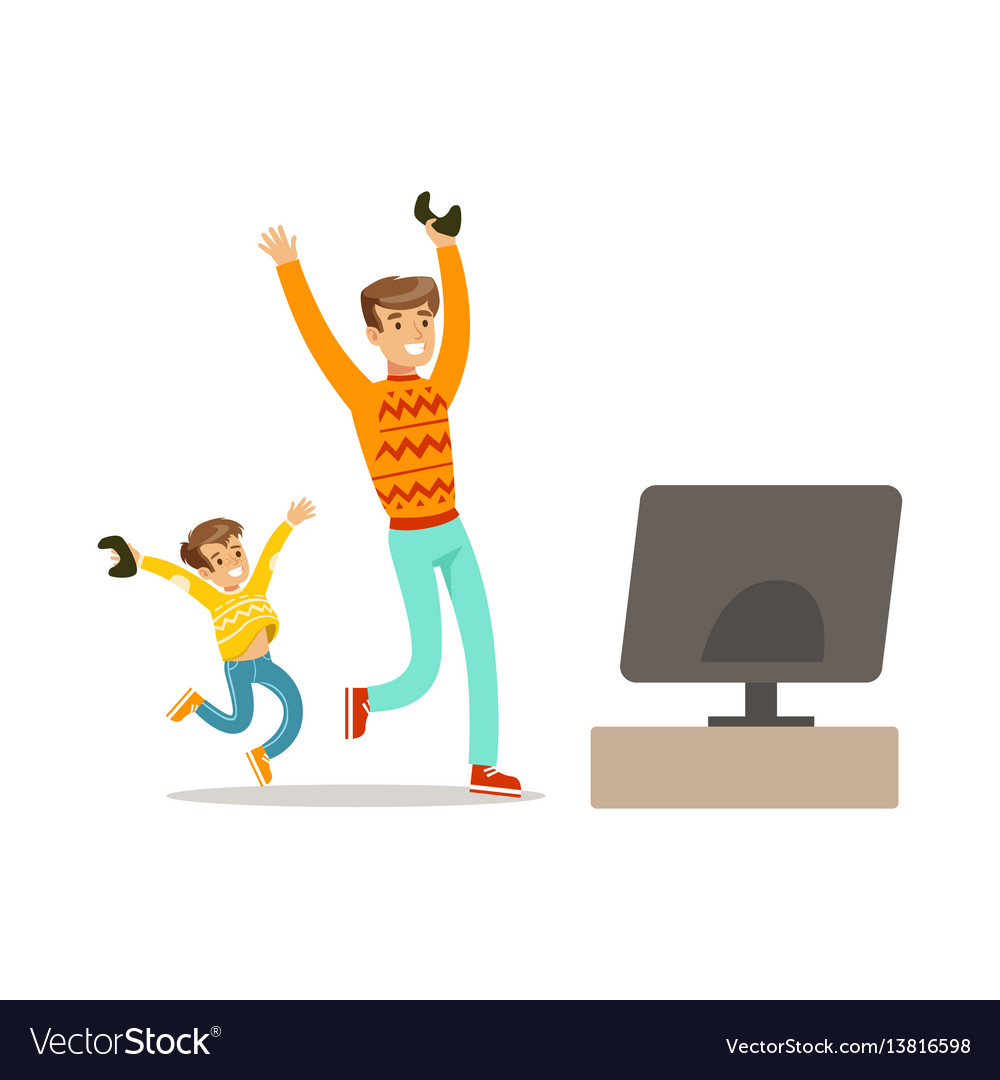 Father and son winning console gamepart of happy
