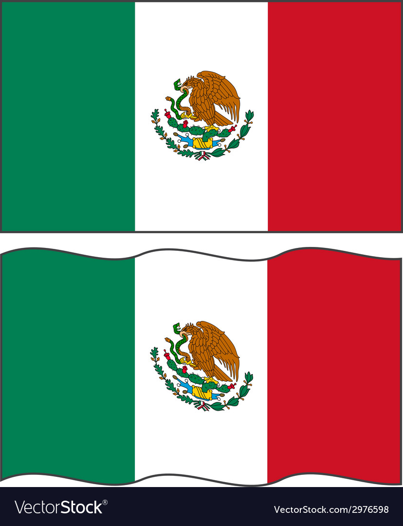 Flat and waving Mexican Flag vector image