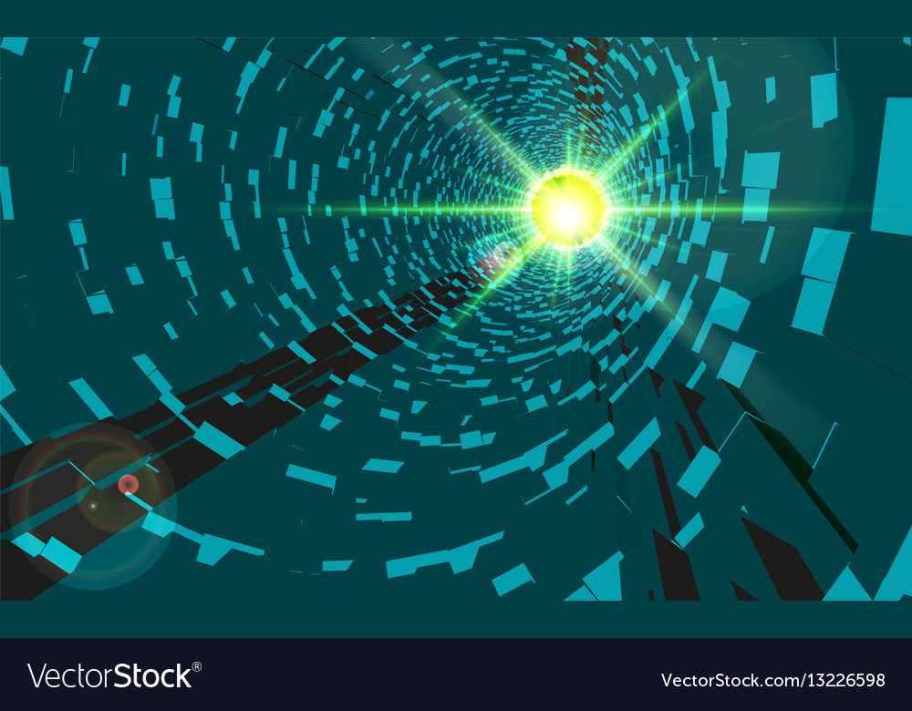 Green abstract technology tunnel with light