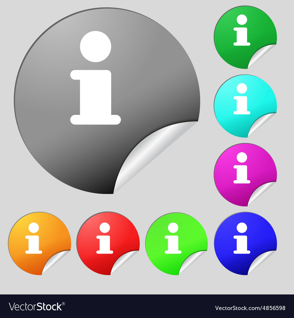 Information Info icon sign Set of eight vector image