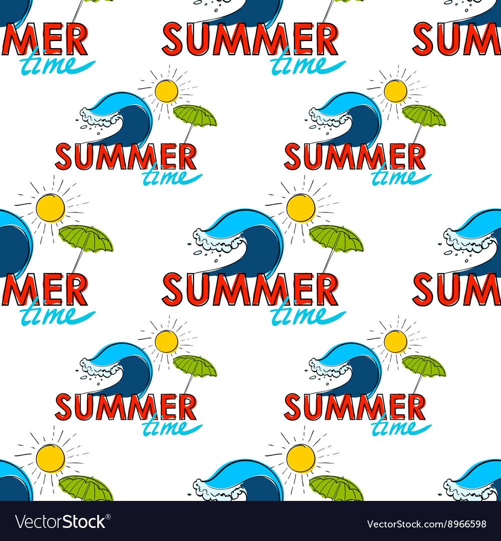 Seamless pattern summer doodle postcard hand
