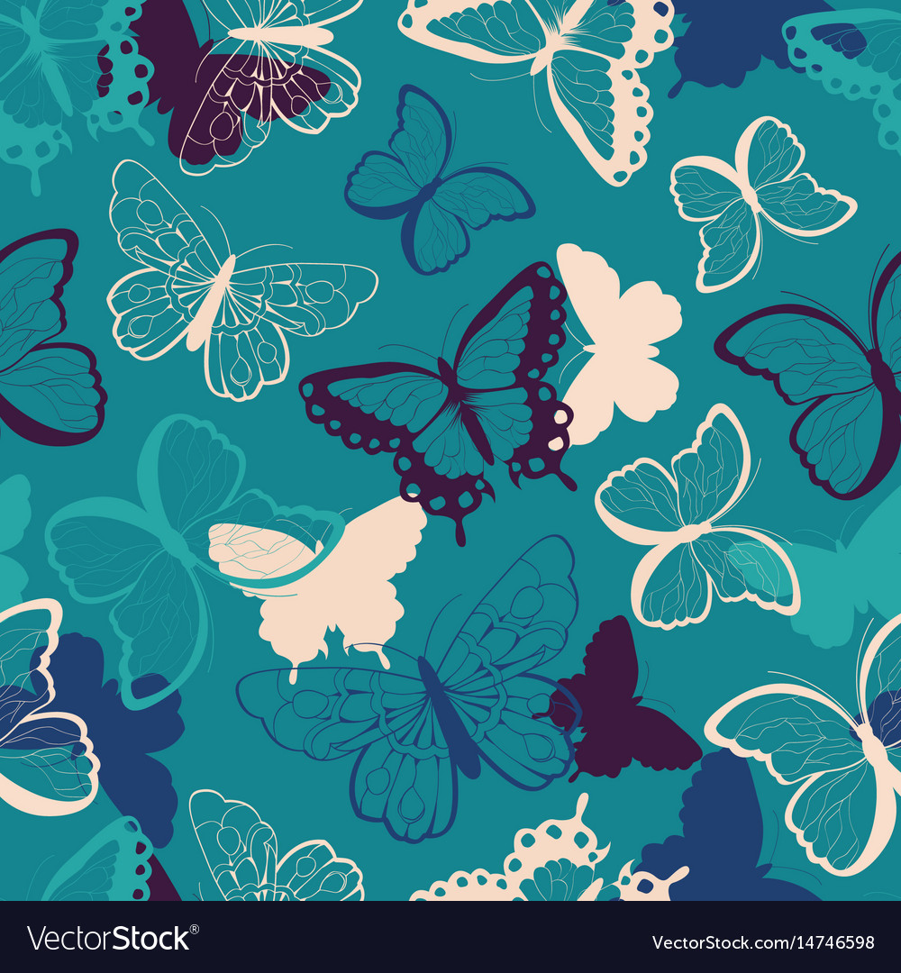 Seamless pattern with colorful butterflies