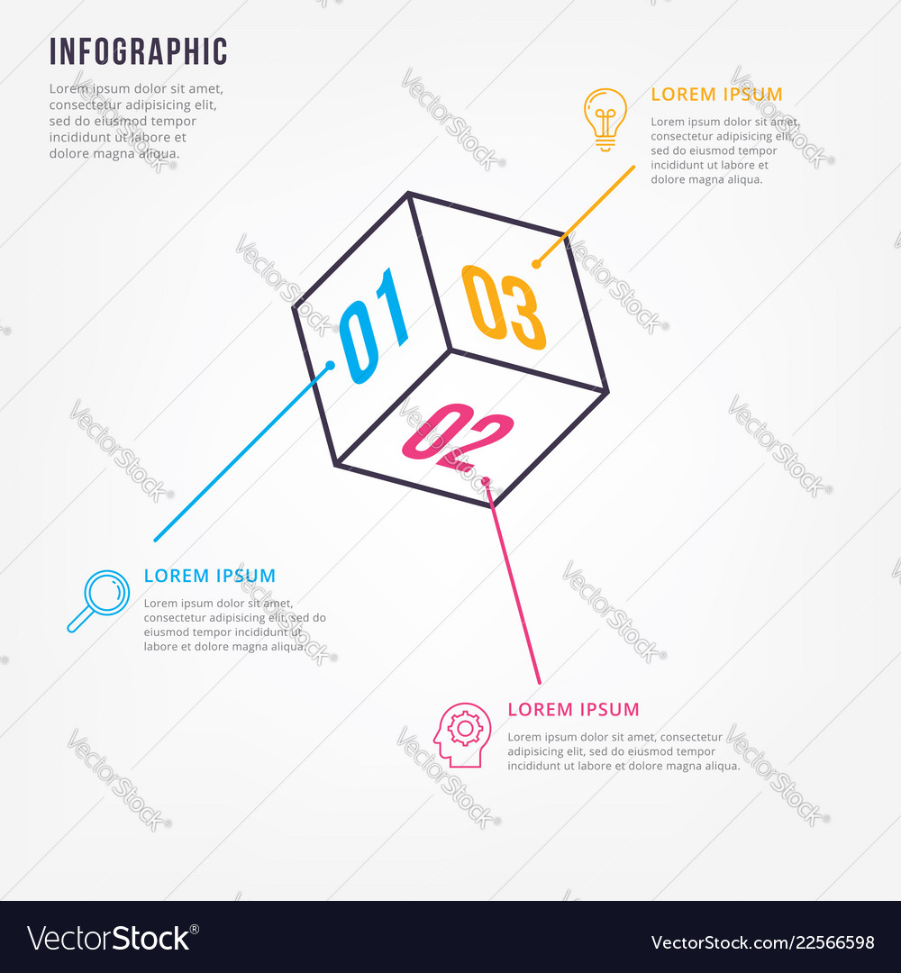 Thin line minimal infographic design template