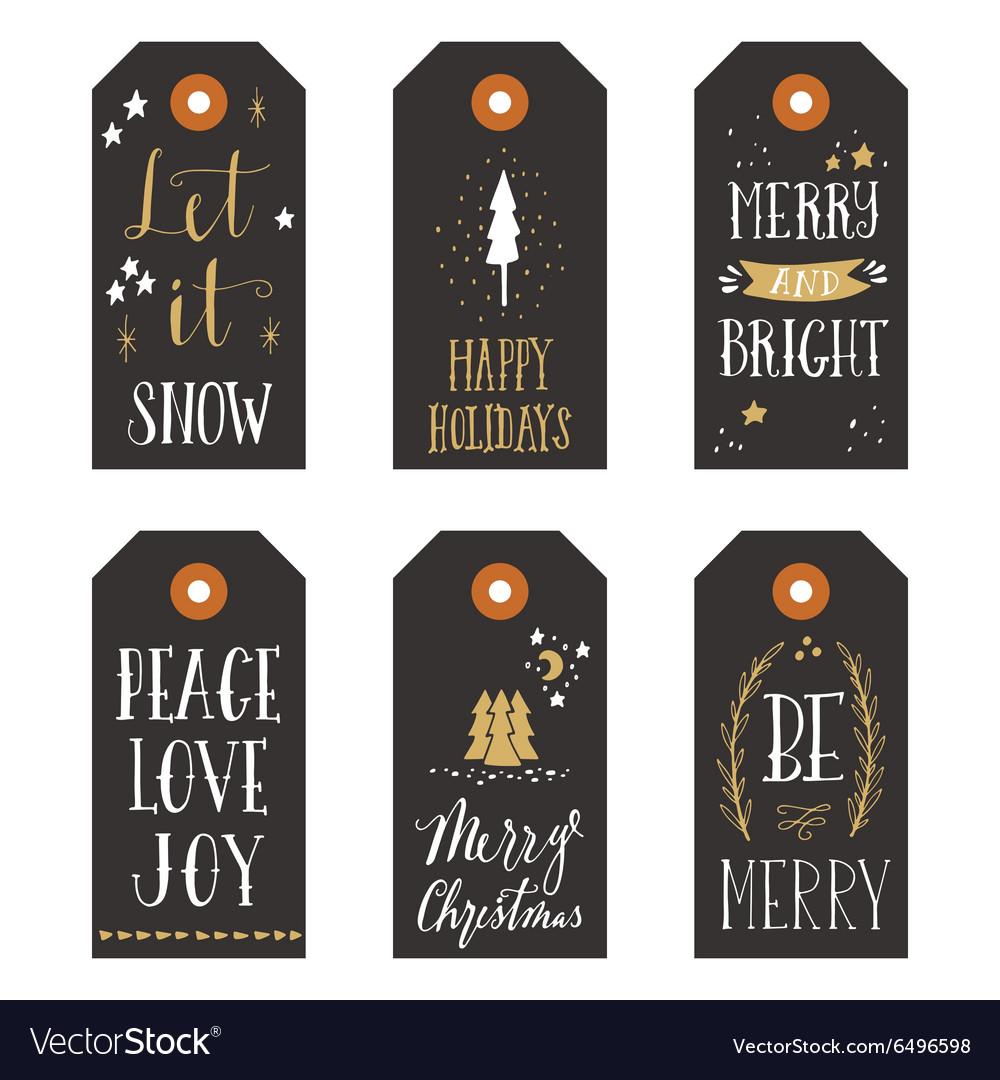 Vintage Christmas gift tags Royalty Free Vector Image