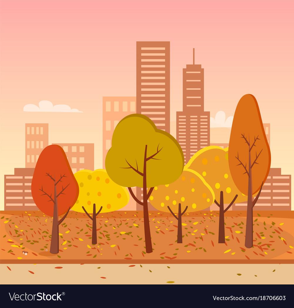 Autumn park represented on