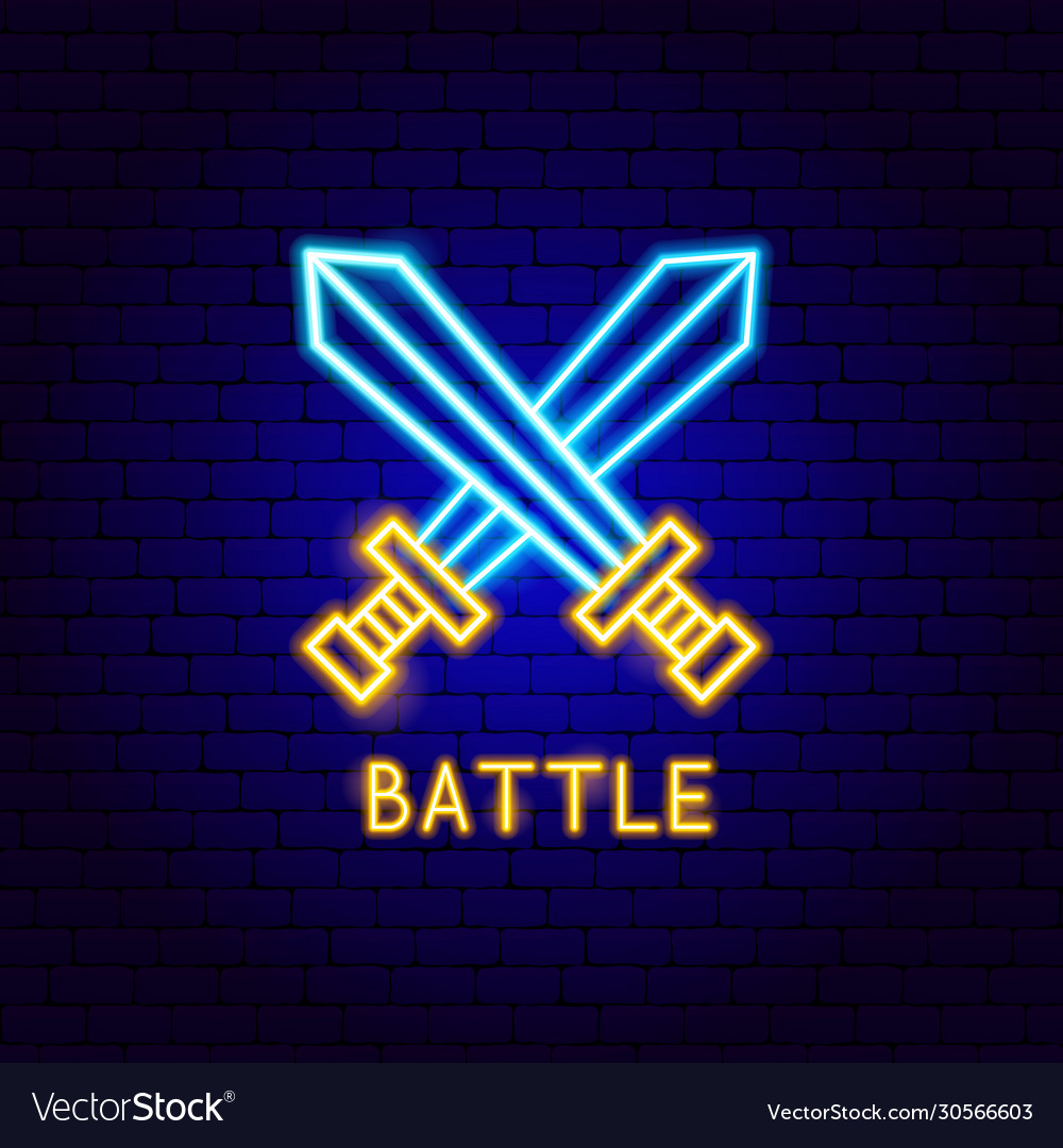 Battle neon label