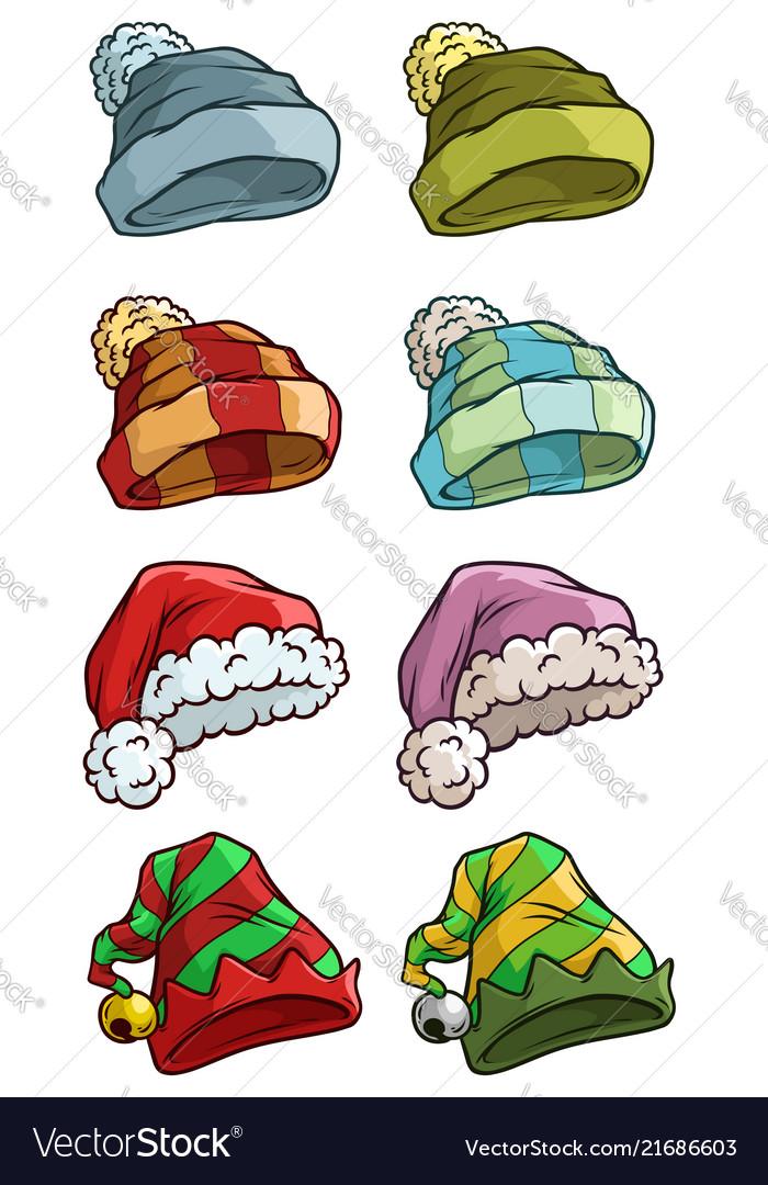 Cartoon winter santa hat big icon set