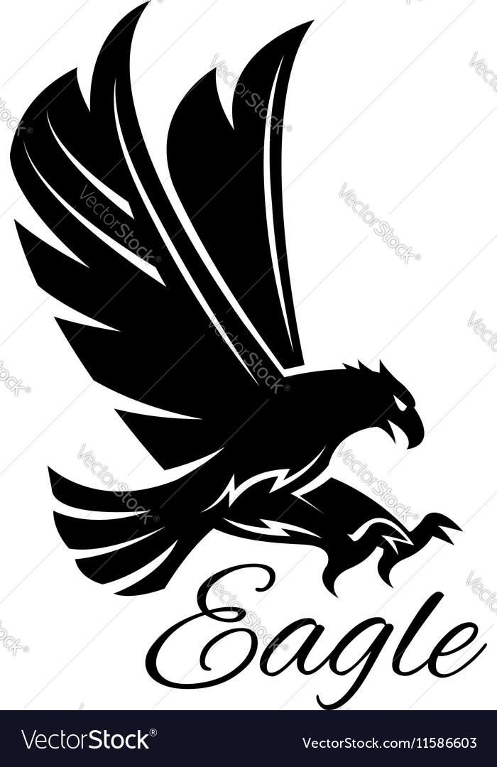 Eagle hawk black heraldic icon vector image