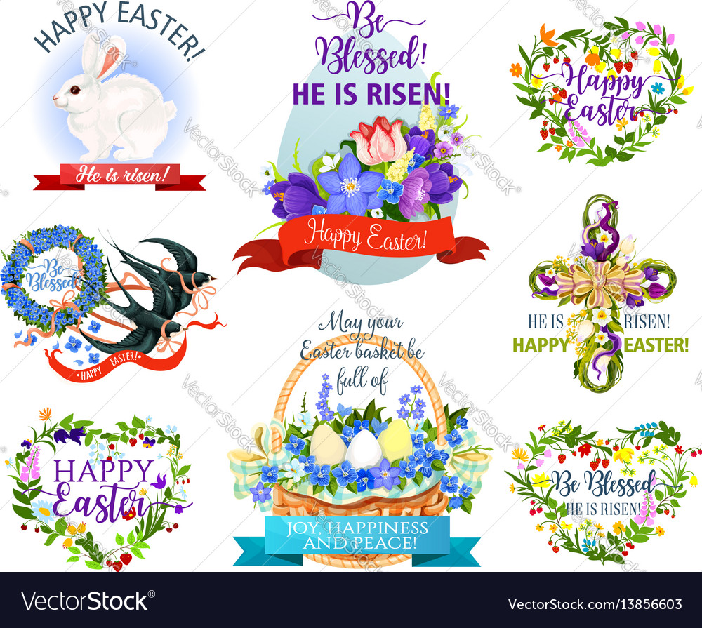 Easter holiday symbols cartoon icon set design