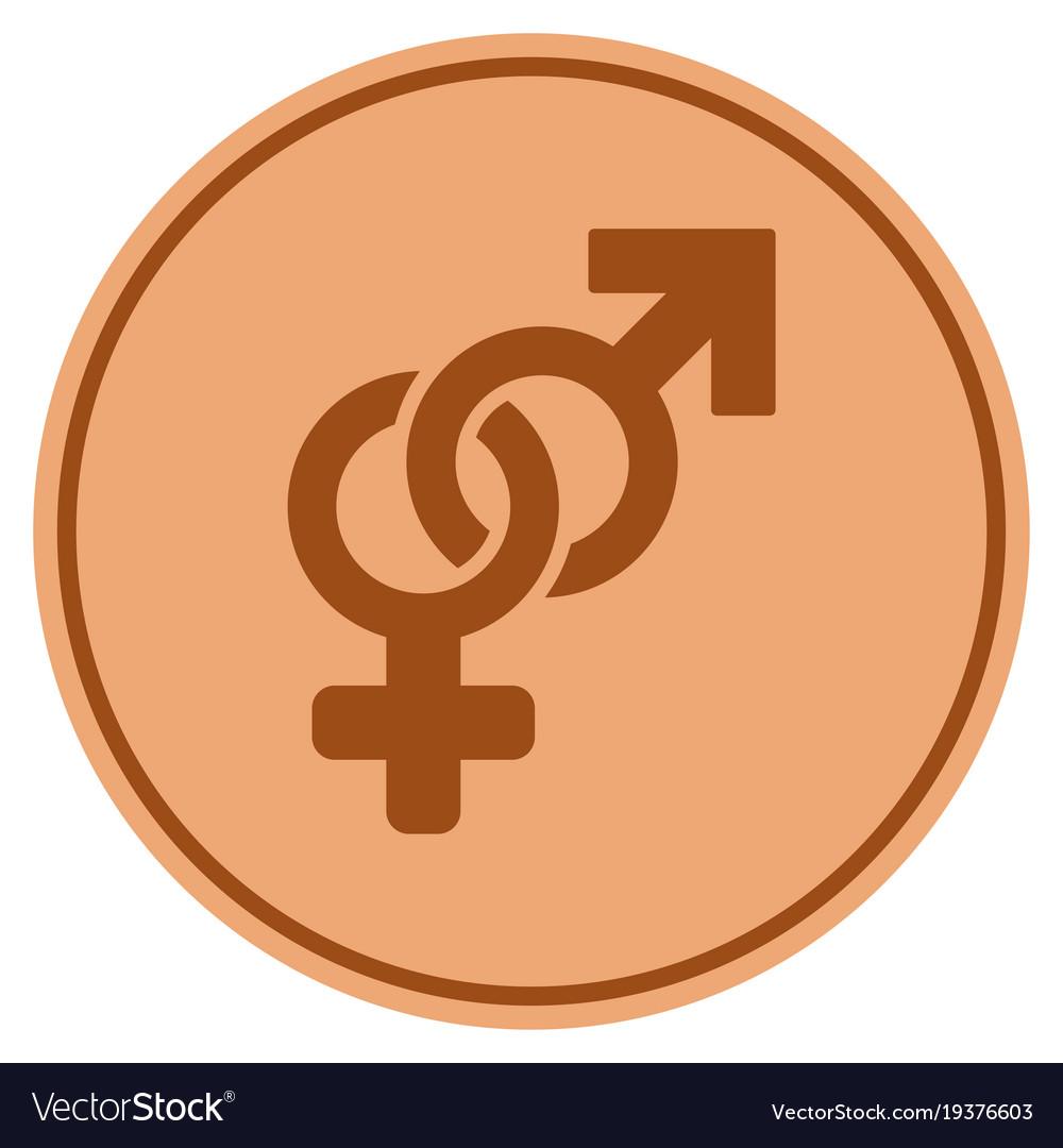 Heterosexual symbol bronze coin