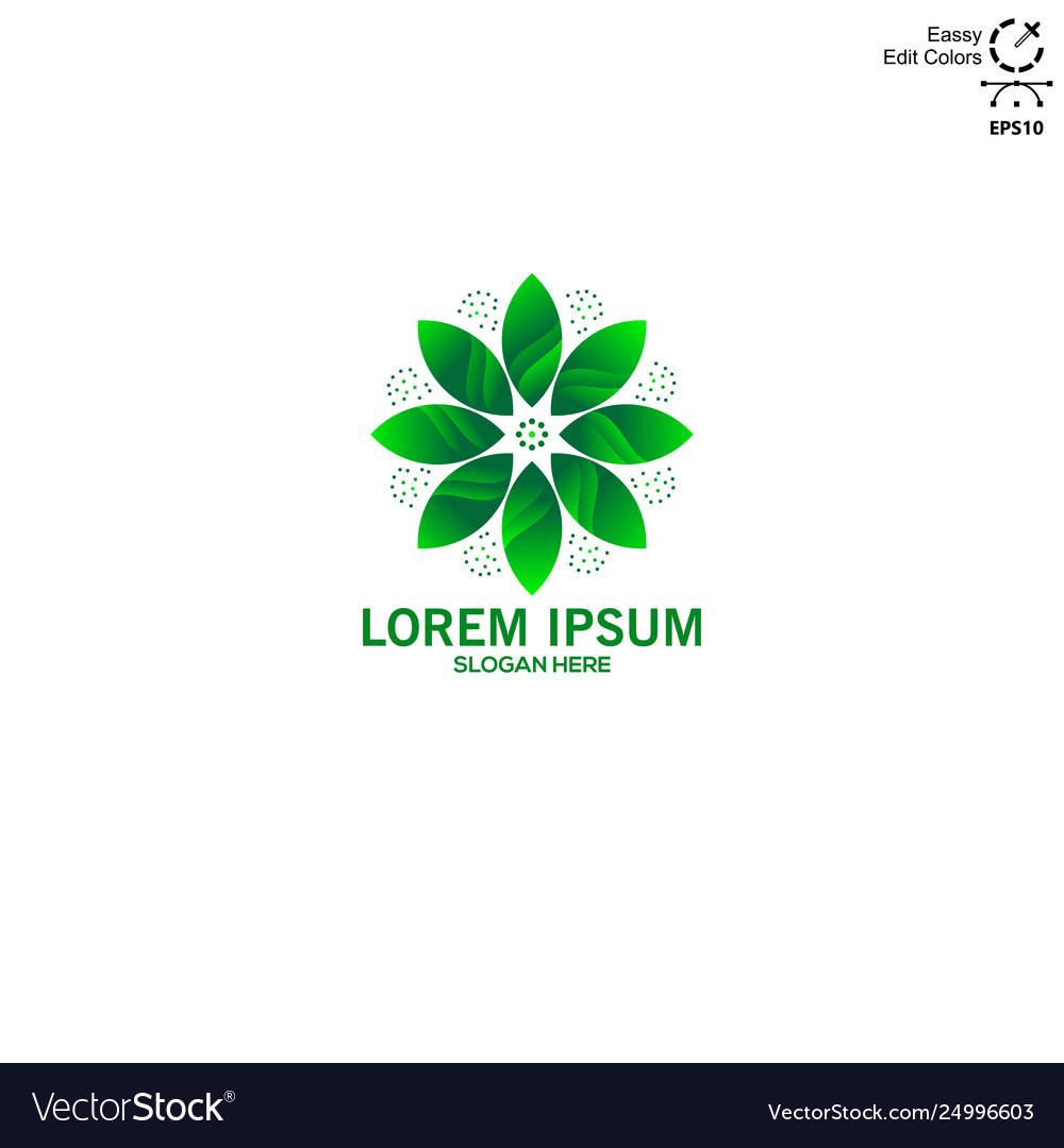 Logo green lotus flower simple and modern