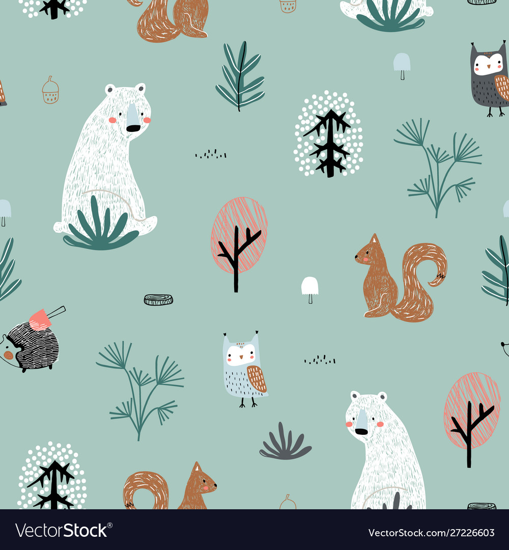 Seamless childish pattern with cute bear