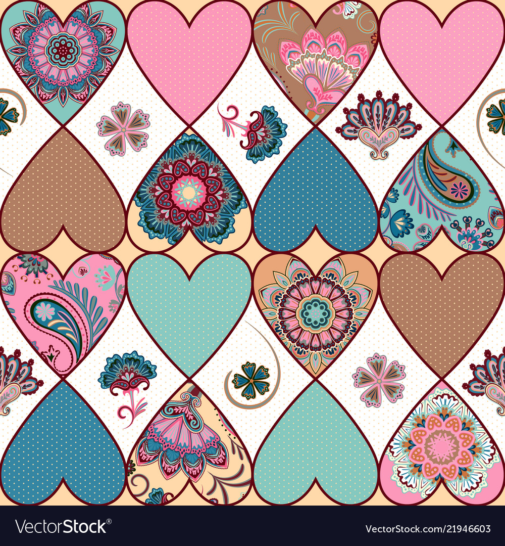 Seamless floral patchwork pattern with hearts and