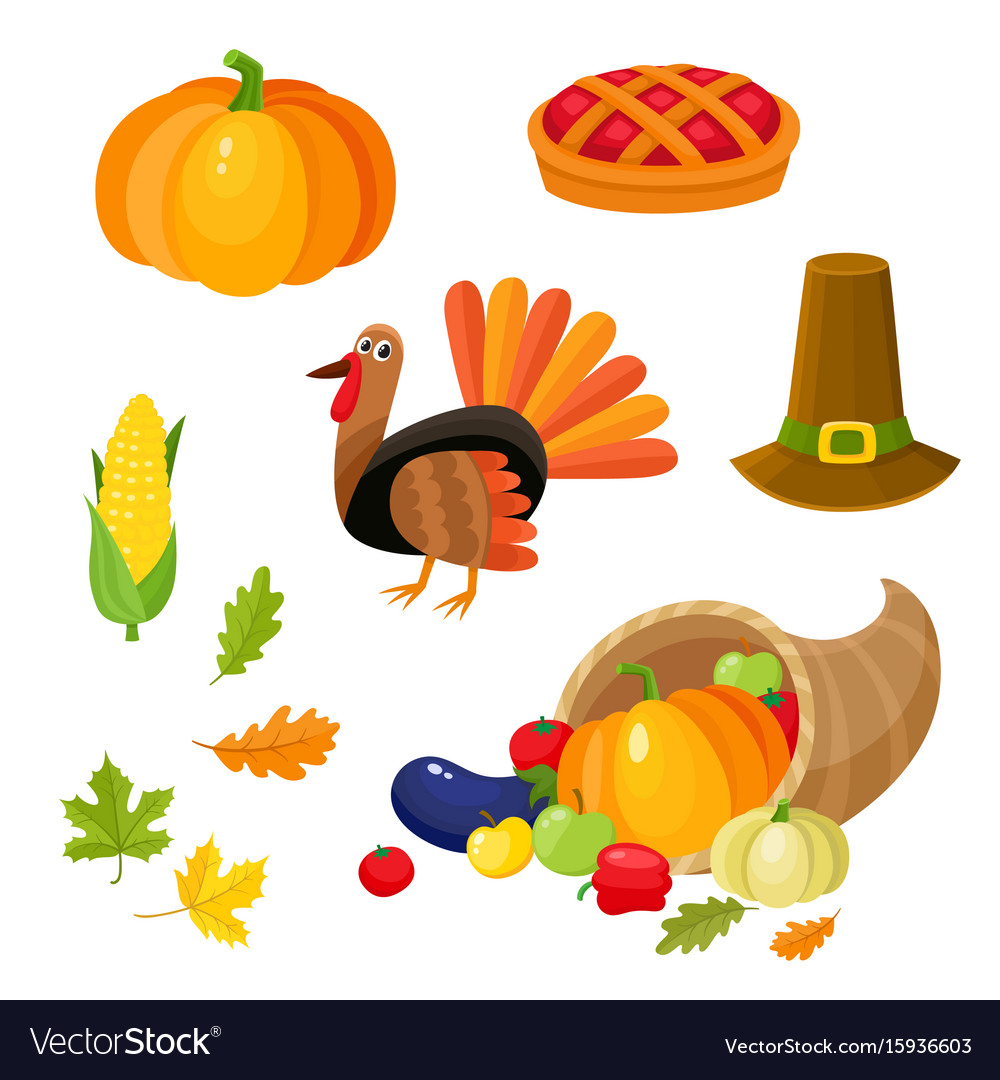 Set of colorful thanksgiving symbols