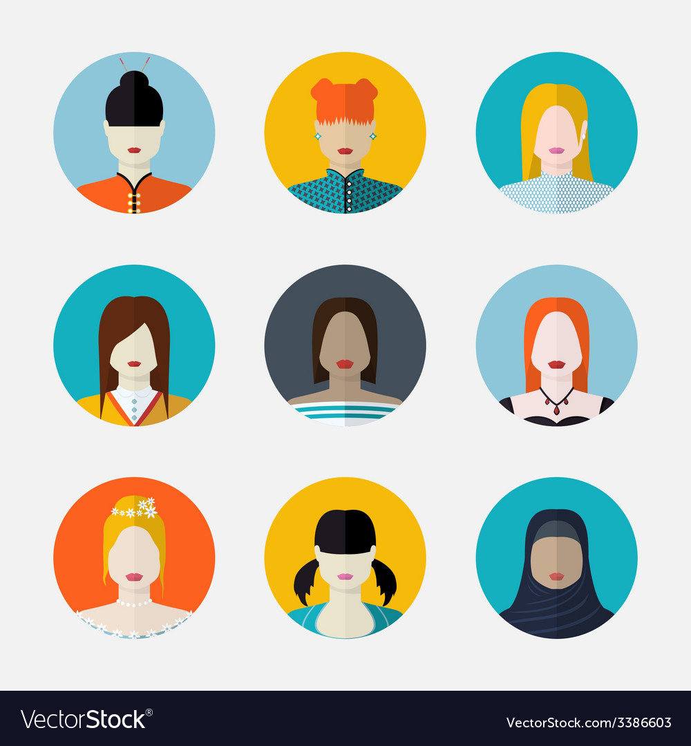 Set of women avatars in flat style different