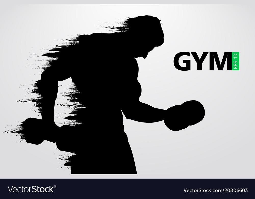 Silhouette of a bodybuilder gym logo vector image