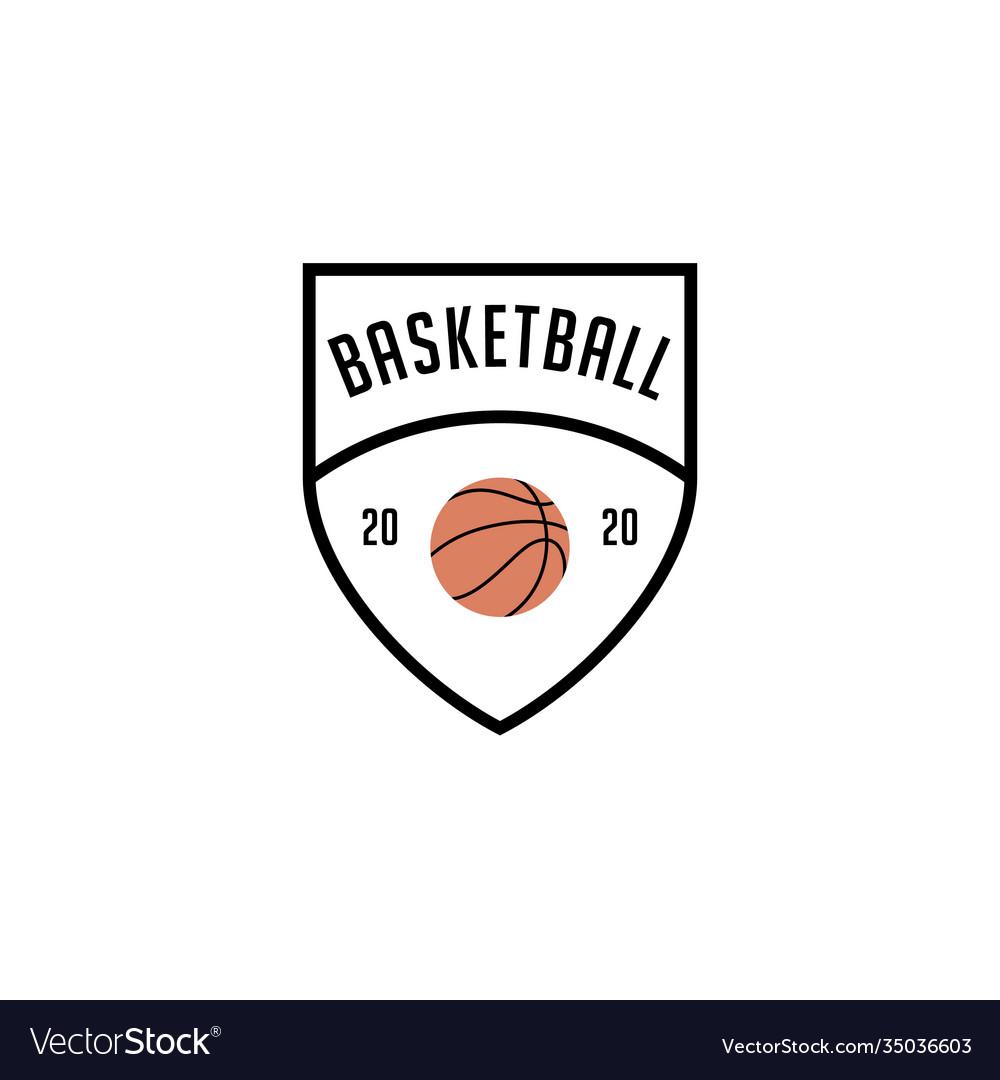 Simple basketball shield logo emblem