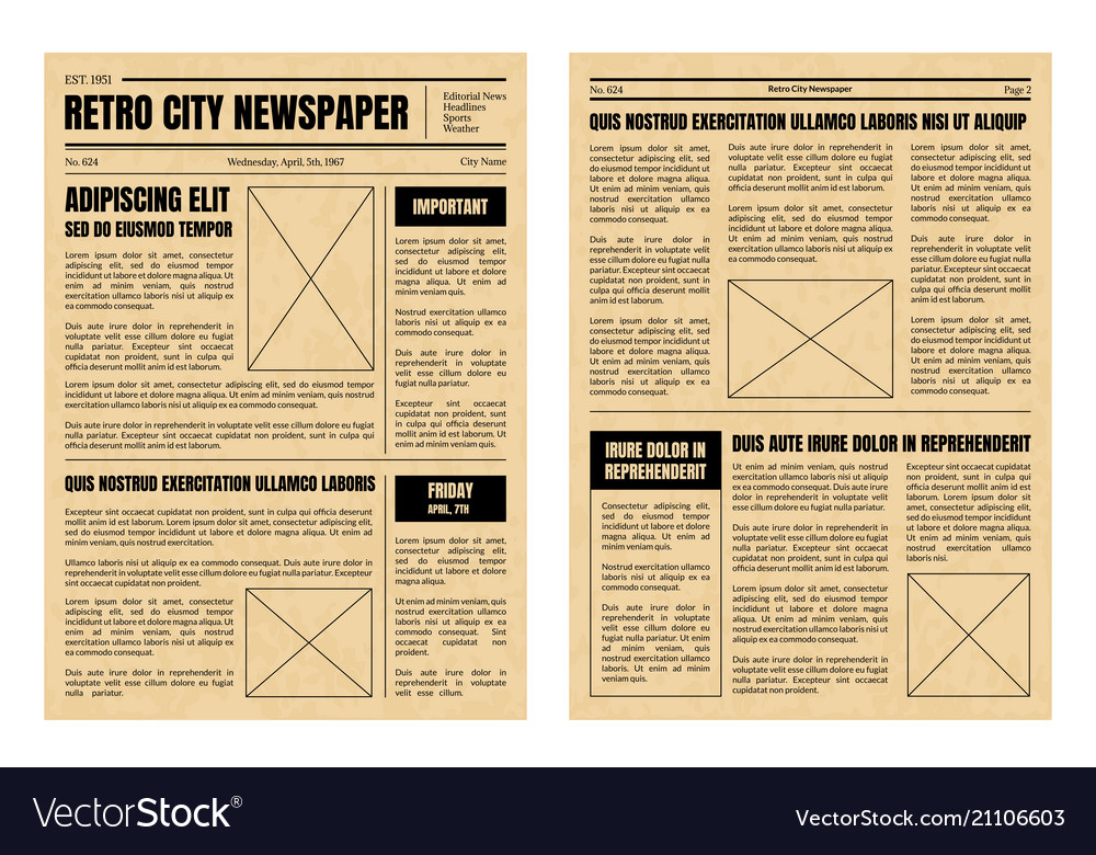 Vintage newspaper template sheets set Royalty Free Vector