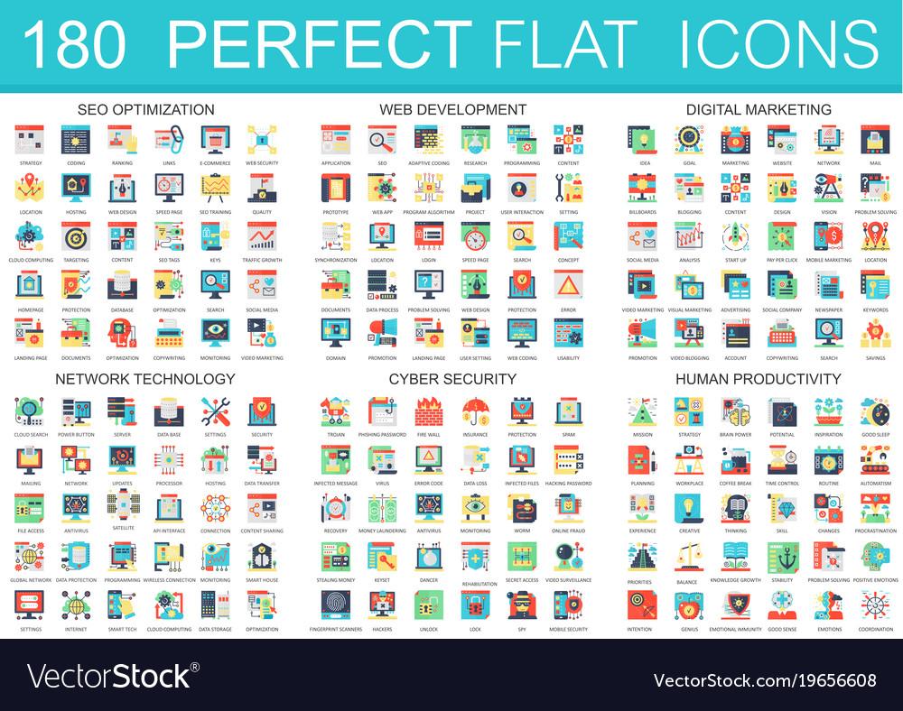 180 complex flat icons concept symbols of