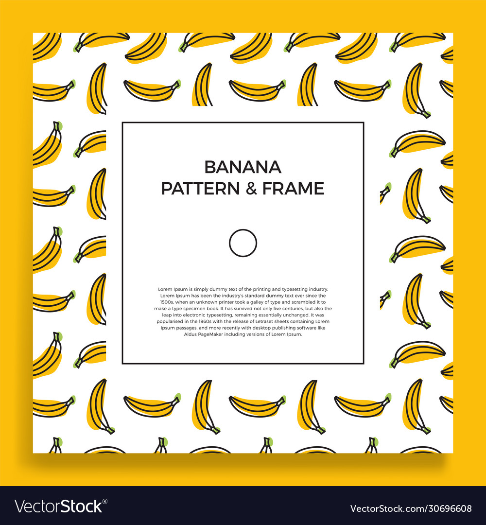 A square postcard with seamless banana patterns