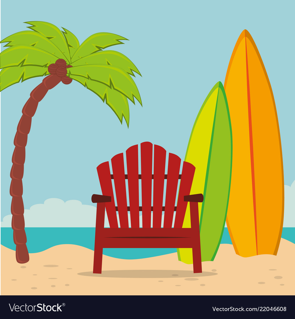 Beach landscape with chair and surfboard