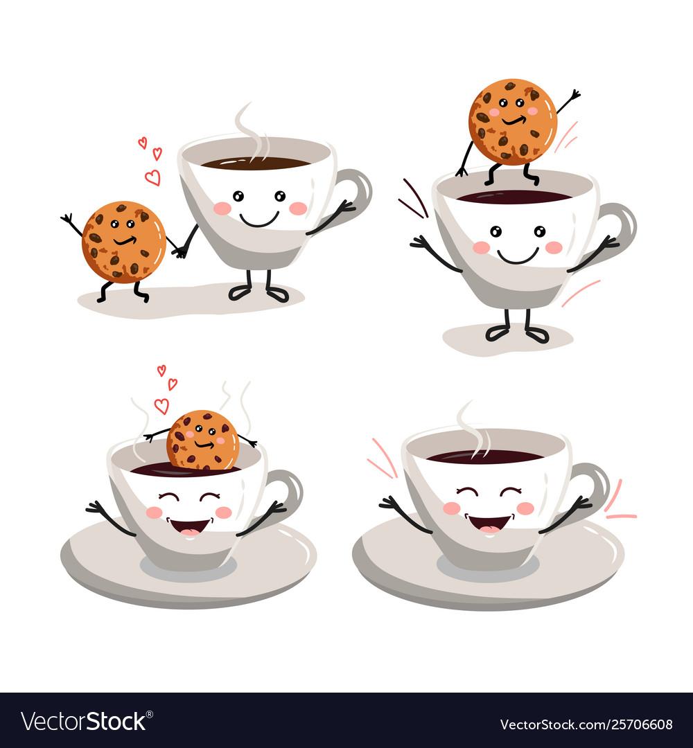 Cup coffee set cookie cartoon
