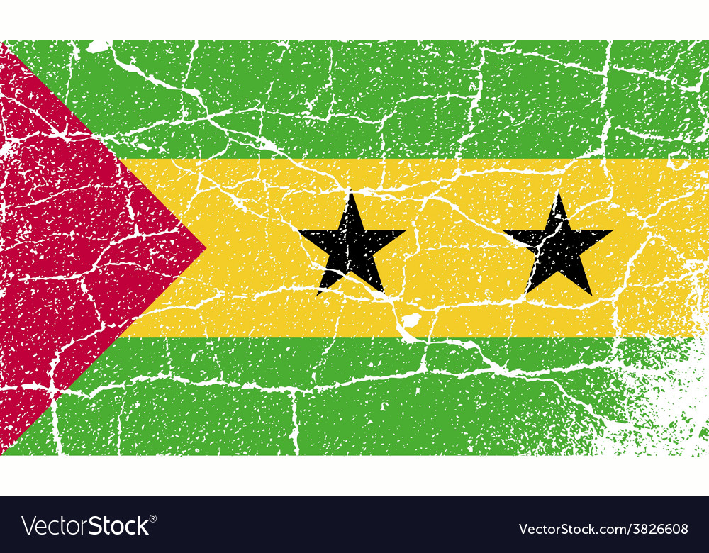 Flag of Sao Tome and Principe with old texture