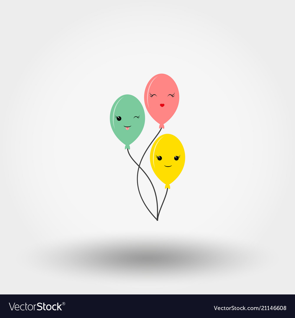 Kawaii fun balloons icon flat