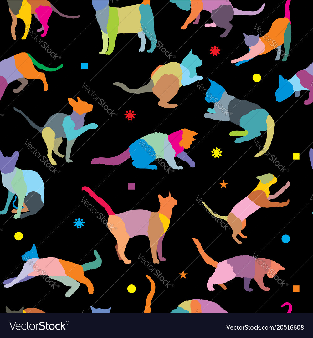 Seamless pattern with cats silhouettes
