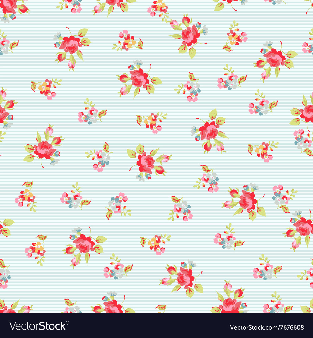 Seamless pattern with small red roses