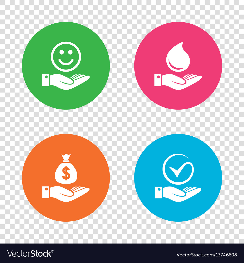 Smile and hand icon water drop tick symbol