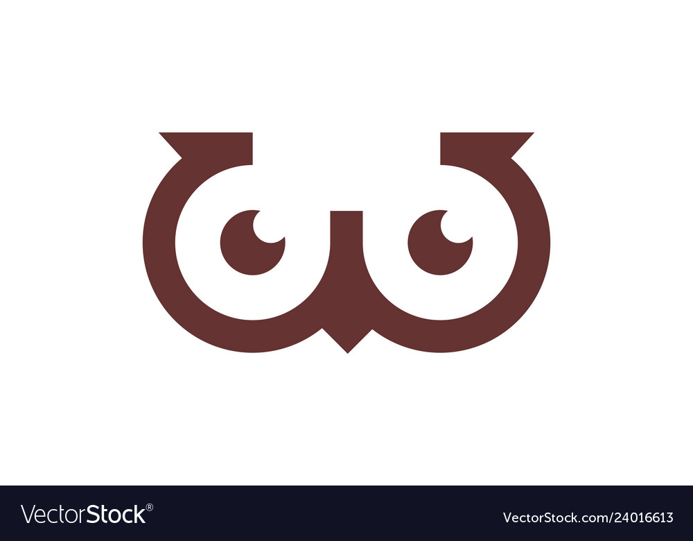 Abstract owl letter w logo icon