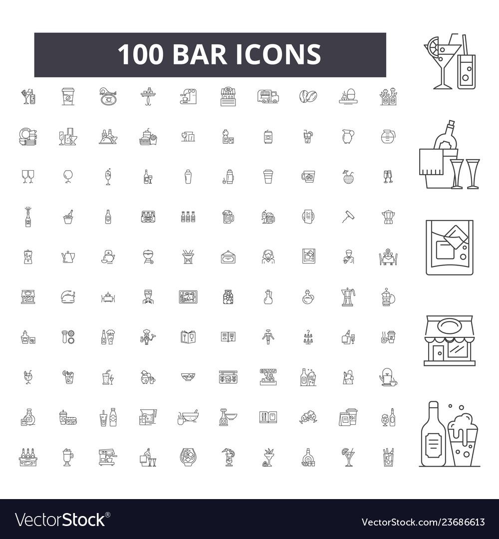Bar editable line icons 100 set