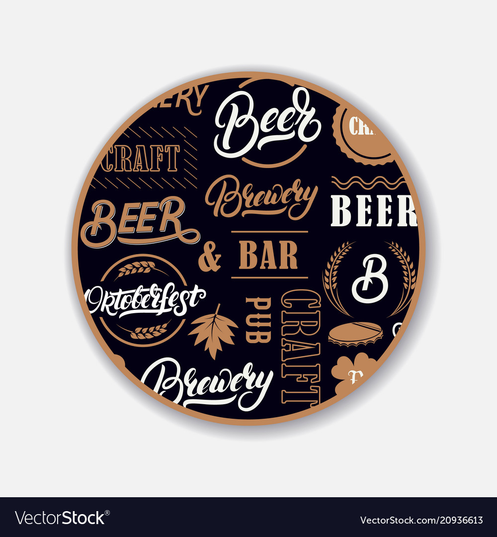 Coaster for beerl with hand written lettering