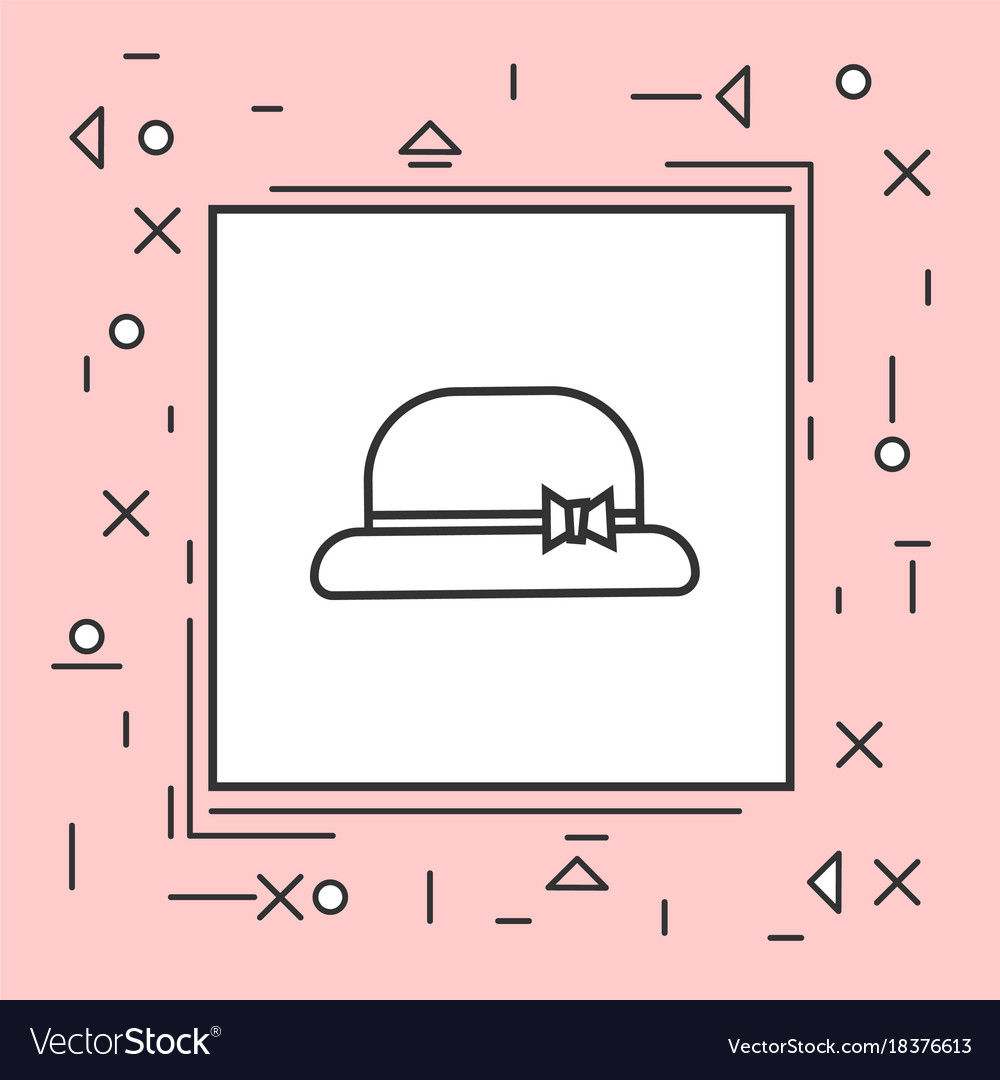 Female hat icon thin line in pink frame vector image