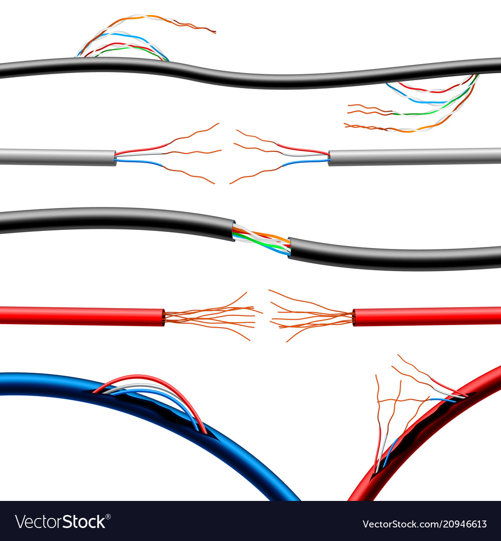 Realistic damaged electric cables set