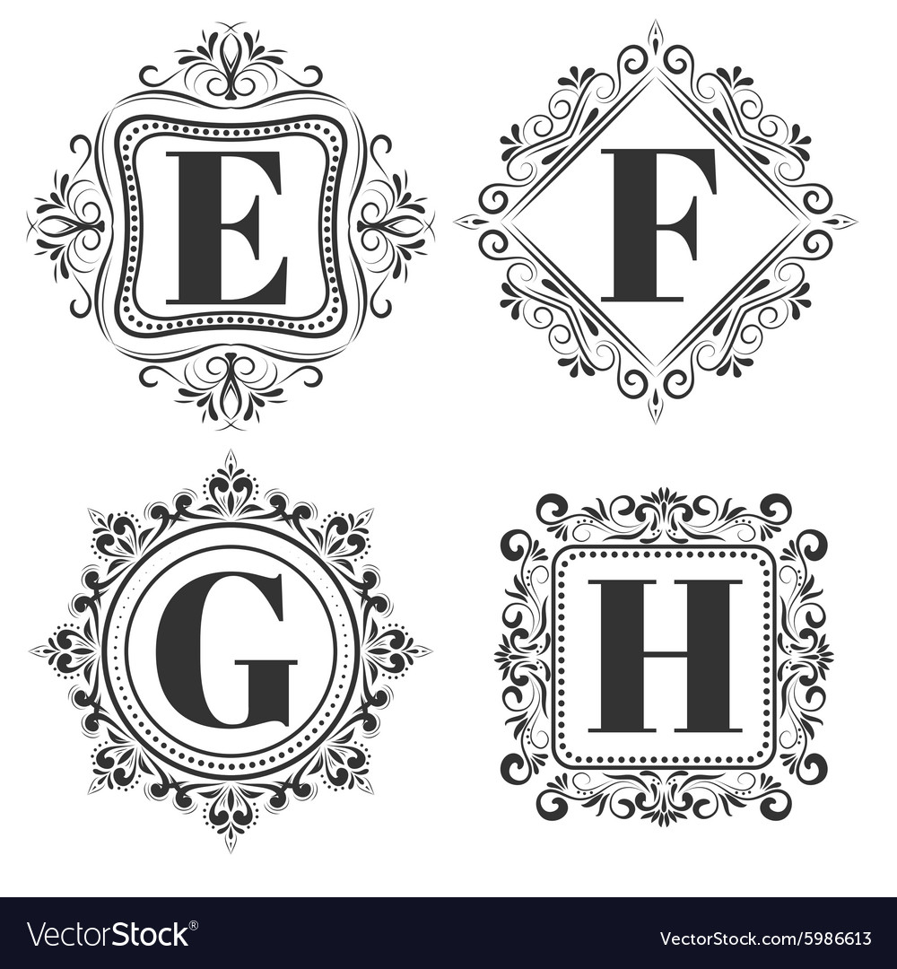 Set of classical logo or monogram design Letters