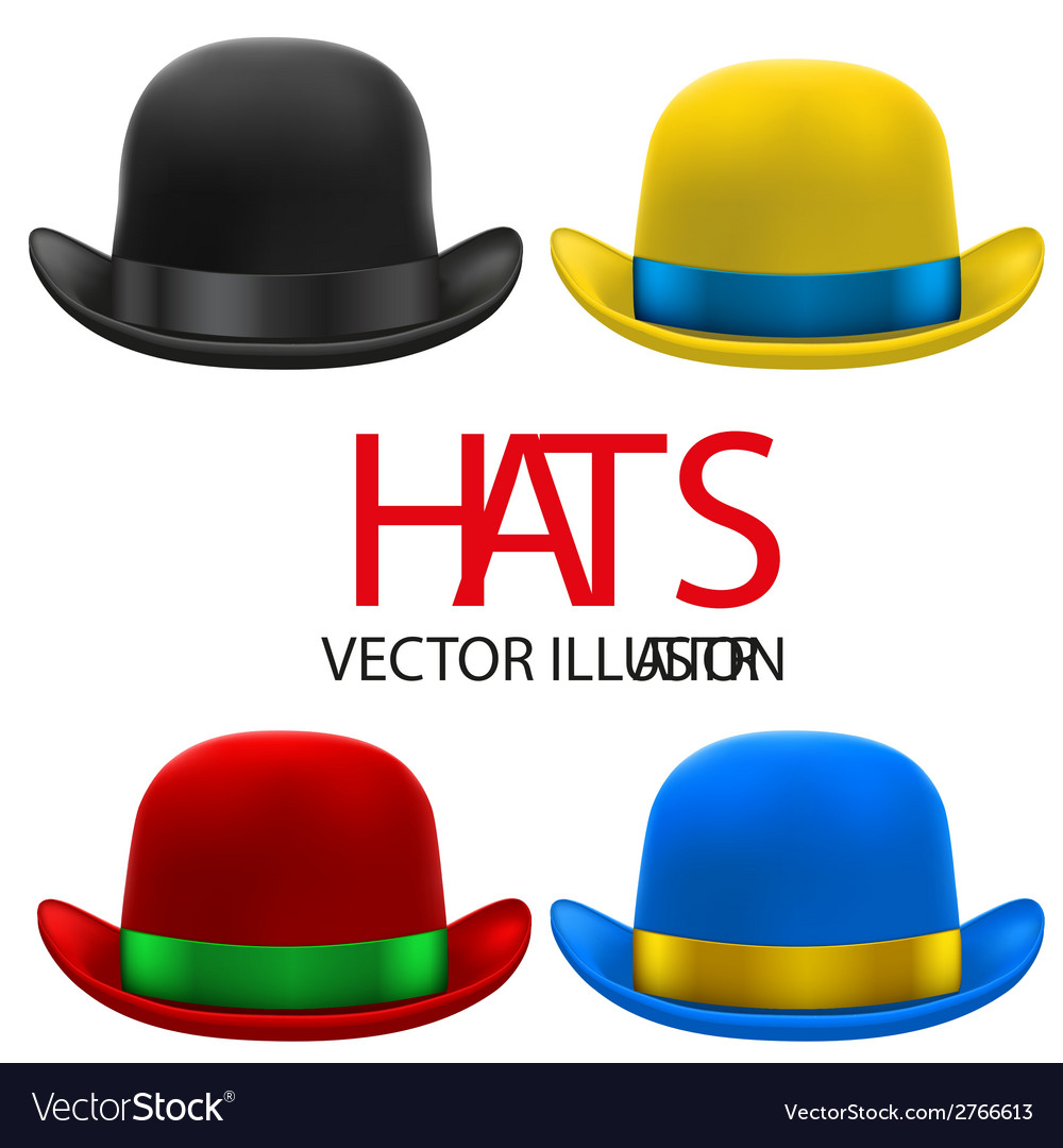 Set of colorful bowler hats