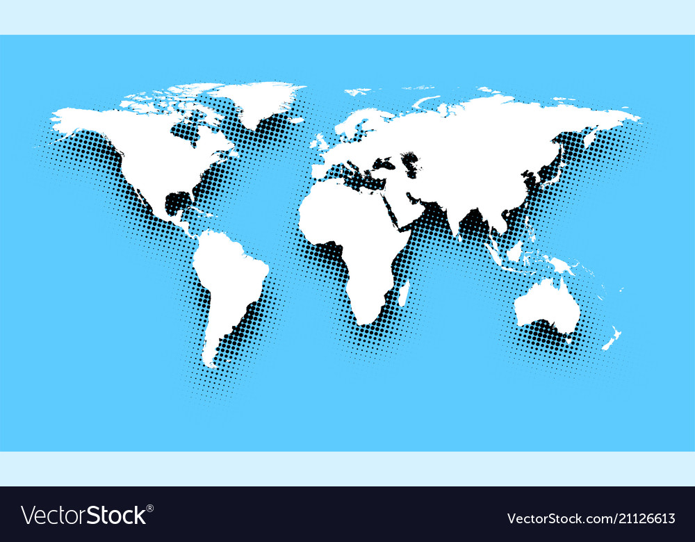 White abstract world map on blue