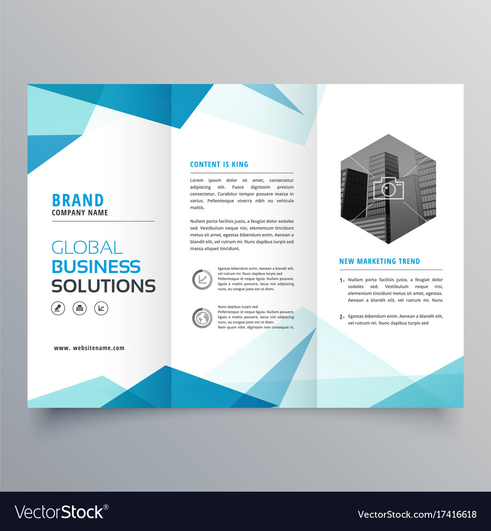 abstract blue business trifold brochure design vector image