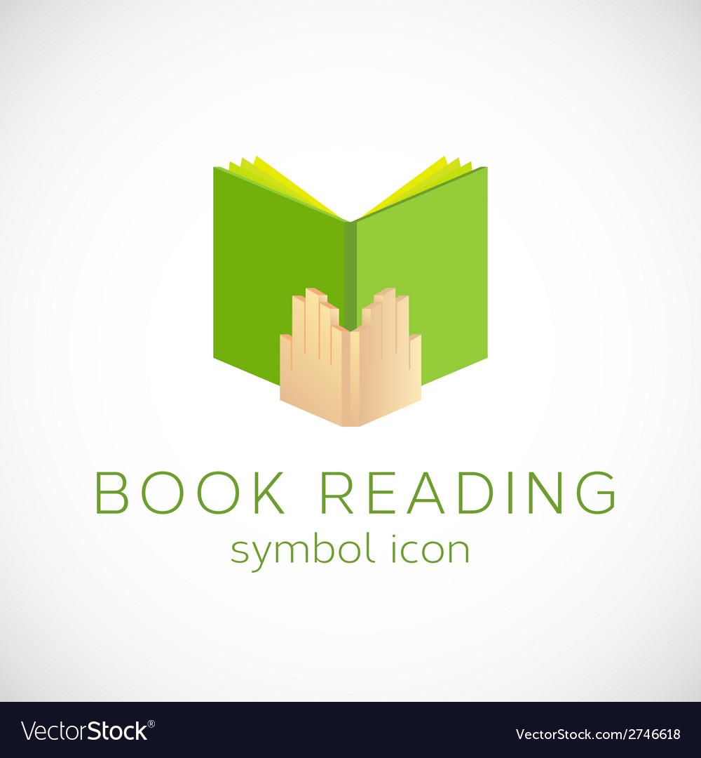 Book Reading Concept Symbol Icon or Label vector image